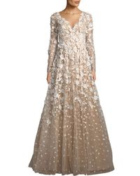 David Meister | 3d Floral Long-sleeve A-line Gown | Lyst