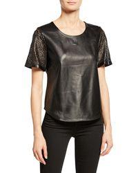 Neiman Marcus Laser-cut Leather Tee - Black
