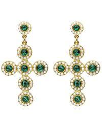 Ben-Amun Green-stone Pearly Cross Dangle Earrings