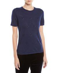 ESCADA - Round-neck Short-sleeve Heart-pointelle Cashmere Pullover Top - Lyst