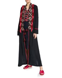 Figue Olatz Wide Embroidered Fringe-placket Robe - Black