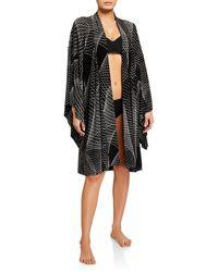 Norma Kamali Printed Coverup Robe - Black