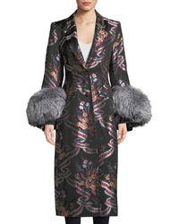 Cinq À Sept - Blanche Floral Coat W/ Fox Fur Cuffs - Lyst