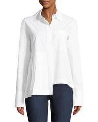 Robert Rodriguez - Long-sleeve Button-front Cotton Shirt With Asymmetric Pleat Detail - Lyst