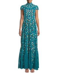 Alice + Olivia Arwen Embroidered Gown - Blue