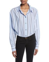 Unravel - Deconstructed Long-sleeve Button-down Striped Bodysuit - Lyst