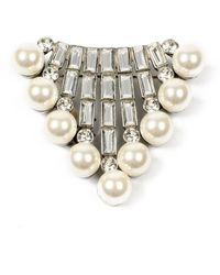 Ben-Amun Crystal Baguette & Pearly Brooch - Multicolour