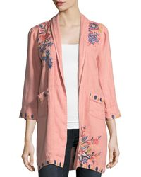 Johnny Was - Tivva Heavy Linen Embroidered Coat - Lyst