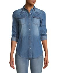Etienne Marcel - Button-front Long-sleeve Denim Shirt With Stars Embroidery - Lyst