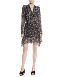 See By Chloé - Printed Tie-neck Long-sleeve Flounce Dress - Lyst