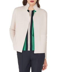 Akris Open-front Placed-stripe Double-face Cashmere-knit Cardigan - Natural