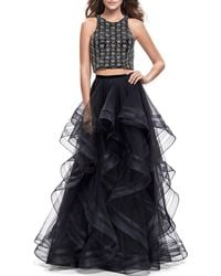 La Femme Two-piece Gown Set With Beaded Crop Top & Tiered Tulle Skirt - Black