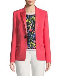 ESCADA - Satin Peak-lapel Jewel-button Wool Tuxedo Jacket - Lyst