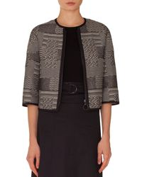 Akris Punto - Graphic-jacquard Zip-front Jacket With Solid Piping - Lyst