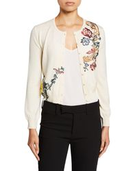 Oscar de la Renta - Floral Embroidered Button Front Wool Cardigan - Lyst