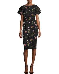 David Meister - Floral-print Short-sleeve Cocktail Dress - Lyst