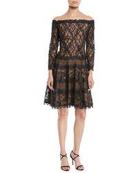 Tadashi Shoji Off-the-shoulder 3d Lace Dress - Black