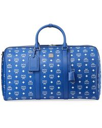 MCM Men's Large Visetos Weekender Duffel Bag - Blue