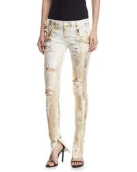 Redemption Distressed Metallic Zip-cuff Jeans