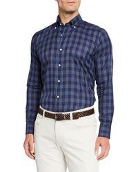 Peter Millar Men's Plaid Cotton Sport Shirt - Blue
