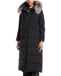 Moncler - Bernache Long Puffer Coat W/ Hood & Fur Trim - Lyst