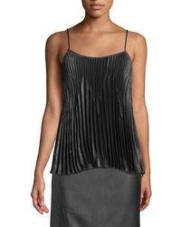 Vince - Pleated Square-neck Tank - Lyst