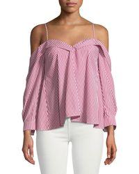 Bardot - Paloma Striped Off-the-shoulder Blouse - Lyst