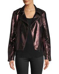Neiman Marcus - Metallic Snake-embossed Lamb Leather Moto Jacket - Lyst