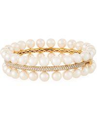 Assael Akoya Pearl Two-row Diamond-trim Bracelet - Metallic