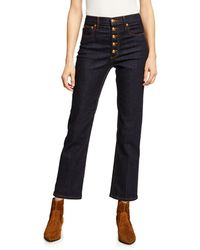 Tory Burch - Button-fly Denim Pants - Lyst