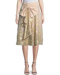 Badgley Mischka - Metallic Floral Cotton Skirt With Bow - Lyst