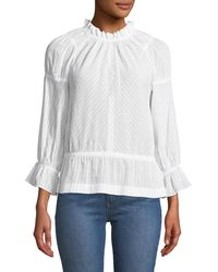10 Crosby Derek Lam - Long Bell-sleeve Striped Cotton Blouse - Lyst