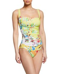 Johnny Was Plus Plus Size Layne Bandeau One-piece Swimsuit - Green