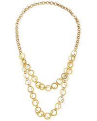 Devon Leigh Chain 2-layer Long Necklace - Metallic
