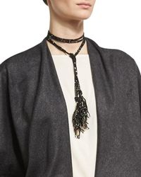 Brunello Cucinelli | Agate & Monili Beaded Tassel Lariat Necklace | Lyst