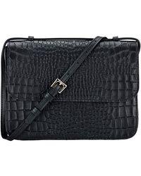 Gigi New York Abbott Croc-embossed Leather Crossbody Bag - Black
