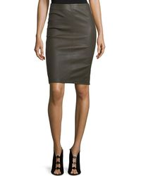 Neiman Marcus - Leather Pencil Skirt - Lyst