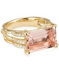 David Yurman Tides 18k Gold Diamond & Morganite Ring, Size 5 - Metallic
