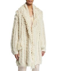 Figue Mila Chunky-crochet Fringed Open-front Cardigan - White
