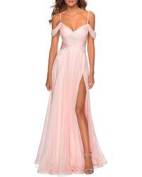 La Femme Cold-shoulder Long Chiffon Gown With Slit - Pink