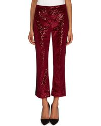 Redemption - Flared Velvet Paillettes Cropped Pants With Tuxedo Stripes - Lyst