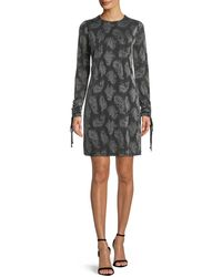 MICHAEL Michael Kors - Drawstring-sleeve Jewel-neck Metallic Paisley Jacquard Dress - Lyst