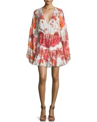Roberto Cavalli - V-neck Tiered Cotton-poplin Printed Dress - Lyst