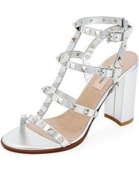 700b53f806 Valentino - Rockstud Strappy Metallic Leather Block-heel Sandals - Lyst