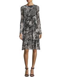 Fuzzi - Floral-print Long-sleeve Swing Dress - Lyst