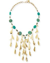 Devon Leigh Mixed Turquoise & Leaf Bib Necklace - Multicolor