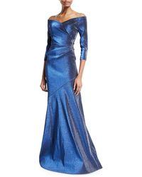 THEIA - Off-the-shoulder 3/4-sleeve Metallic Mermaid Gown - Lyst