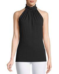 67496f5a88ce2 Michael Kors - Lace Halter-neck Stretch-matte Jersey Top - Lyst
