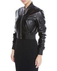 Michael Kors - Zip-front Plonge Leather Cropped Bomber Jacket - Lyst