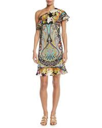 Etro - Neon Paisley Floral Ruffle One-shoulder Dress - Lyst